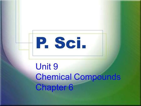 P. Sci. Unit 9 Chemical Compounds Chapter 6. Part 2 Compound Names and Formulas.