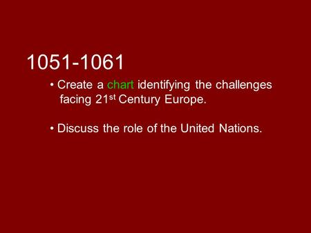 1051-1061 Create a chart identifying the challenges facing 21 st Century Europe. Discuss the role of the United Nations.