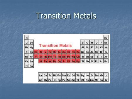 Transition Metals. More than one possible charge? Ionic compounds that have transition metals COULD need Roman Numerals in the name. Ionic compounds that.