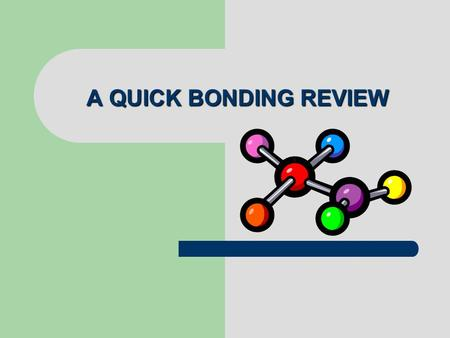 A QUICK BONDING REVIEW. Why do atoms want to bond? To achieve the octet rule OCTET RULE: atoms want to have 8 valence electrons in their outer most shell.