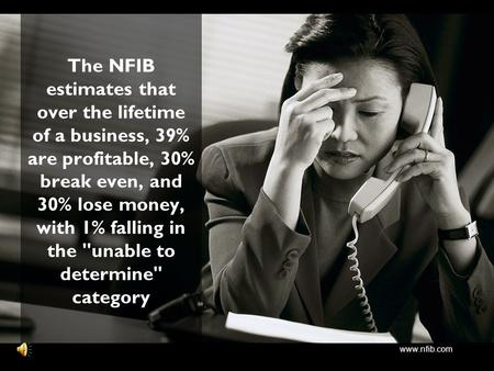 Www.nfib.com The NFIB estimates that over the lifetime of a business, 39% are profitable, 30% break even, and 30% lose money, with 1% falling in the unable.