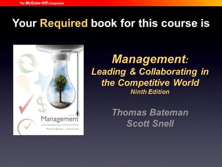 Your Required book for this course is