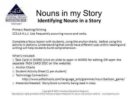 Identifying Nouns in a Story