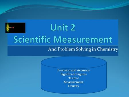 And Problem Solving in Chemistry Precision and Accuracy Significant Figures % error Measurement Density.
