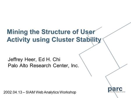 Mining the Structure of User Activity using Cluster Stability Jeffrey Heer, Ed H. Chi Palo Alto Research Center, Inc. 2002.04.13 – SIAM Web Analytics Workshop.