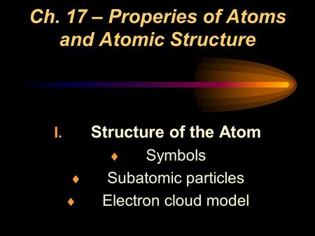 Ch. 17 – Properies of Atoms and Atomic Structure I. Structure of the Atom  Symbols  Subatomic particles  Electron cloud model.
