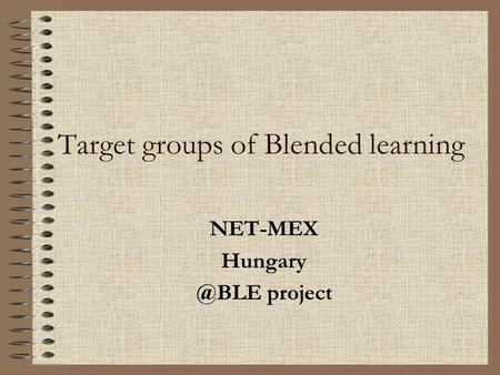 Target groups of Blended learning NET-MEX project.