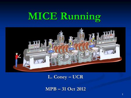 1 MICE Running L. Coney – UCR MPB – 31 Oct 2012. 2Coney - MPB - 31 Oct 2012Outline Current Running Current Running Shift personnel training Shift personnel.