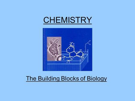 CHEMISTRY The Building Blocks of Biology. Matter Anything that has mass and occupies space. Solid, Liquid, Gas.