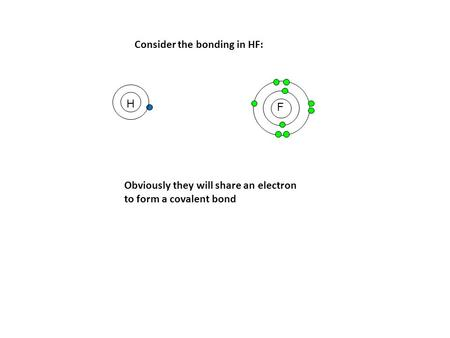 F Consider the bonding in HF: H Obviously they will share an electron to form a covalent bond.