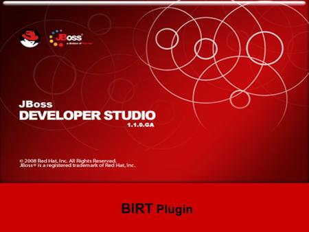 JBoss Developer Studio BIRT Plugin. BIRT - Business Intelligence and Reporting Tools. BIRT plugin for JBoss Developer Studio is an Eclipse-based open.