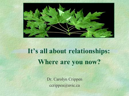 1 It's all about relationships: Dr. Carolyn Crippen Where are you now?