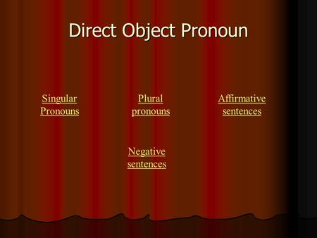 Direct Object Pronoun Singular Pronouns Plural pronouns Affirmative sentences Negative sentences.