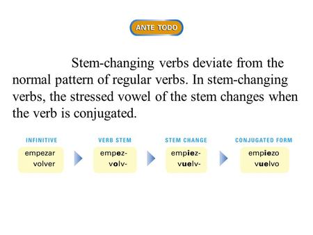 Stem-changing verbs deviate from the normal pattern of regular verbs. In stem-changing verbs, the stressed vowel of the stem changes when the verb is conjugated.