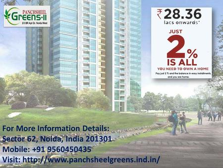  Panchsheel Green 2 is one of the most prestigious real estate group that provide quality construction, safety of investment and commitment.  The project.