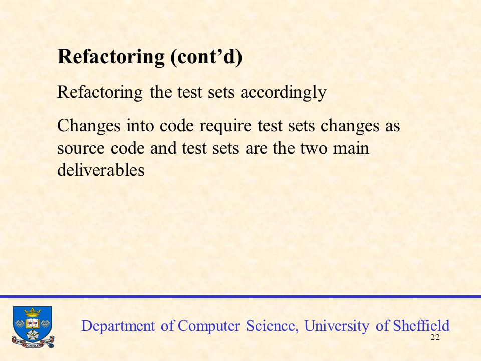 23 Department of Computer Science, University of Sheffield 10.