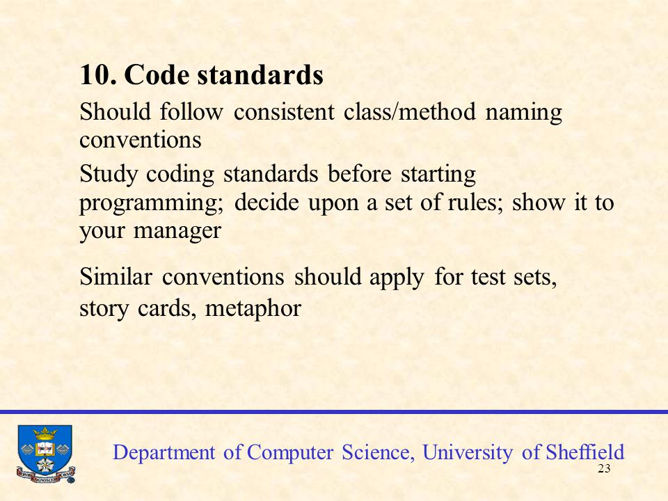 24 Department of Computer Science, University of Sheffield 11.