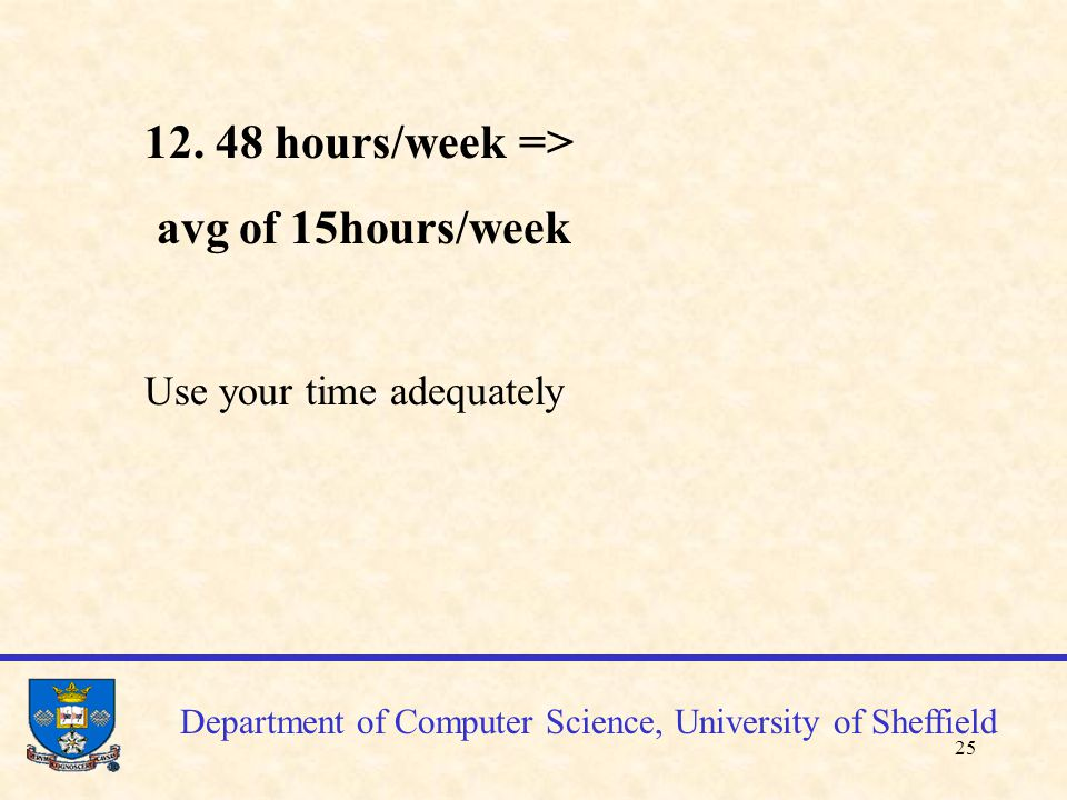 26 Department of Computer Science, University of Sheffield Java coding standards(p.131-) Each directory containing java files will contain a README file describing briefly these files Each java source file will contain a single public class or interface -beginning comment: class name, author, date, version, changes description, changes history -a specified class structure