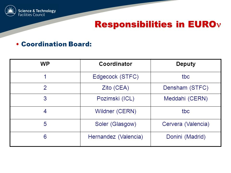 Responsibilities in EURO Responsibilities in EURO International Advisory Panel:  Activities of WPs  Technical choices  Distribution of resources  Activity planning  1 meeting/year, during annual meeting  Membership: 3 people, not from partners to be proposed by GB (see later)