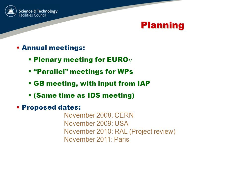 Planning Planning MB: meet as required Dissemination Board: ditto CB: meet ≥3 times a year WPs:  meet as required (but often!)  clearly, phone meetings regularly  organised by WPM All meeting announcements, slides, minutes: website