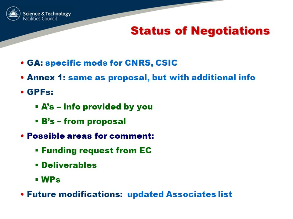 Status of Negotiations Status of Negotiations Next steps:  Comments from EC  Final modifications from us  Final comments from EC??.