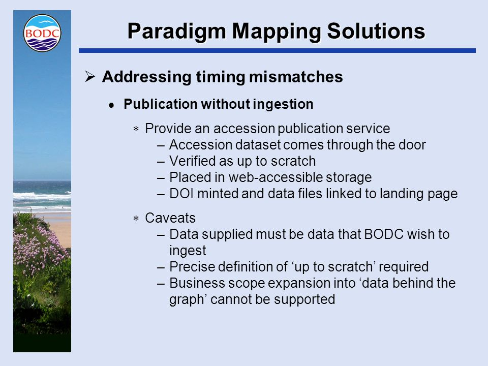 Paradigm Mapping Solutions  Addressing timing mismatches  Expectation management –Publishing promises will NEVER be considered by BODC –No DOI will be minted without files verified as acceptable quality in BODC's possession