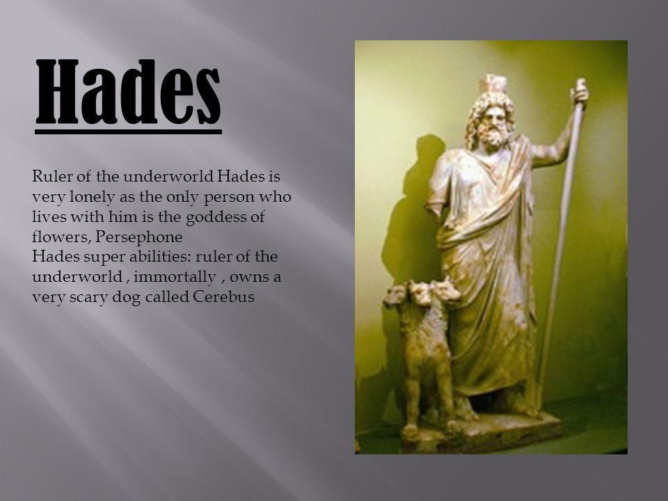 Hades Ruler of the underworld Hades is very lonely as the only person who lives with him is the goddess of flowers, Persephone Hades super abilities: ruler of the underworld, immortally, owns a very scary dog called Cerebus