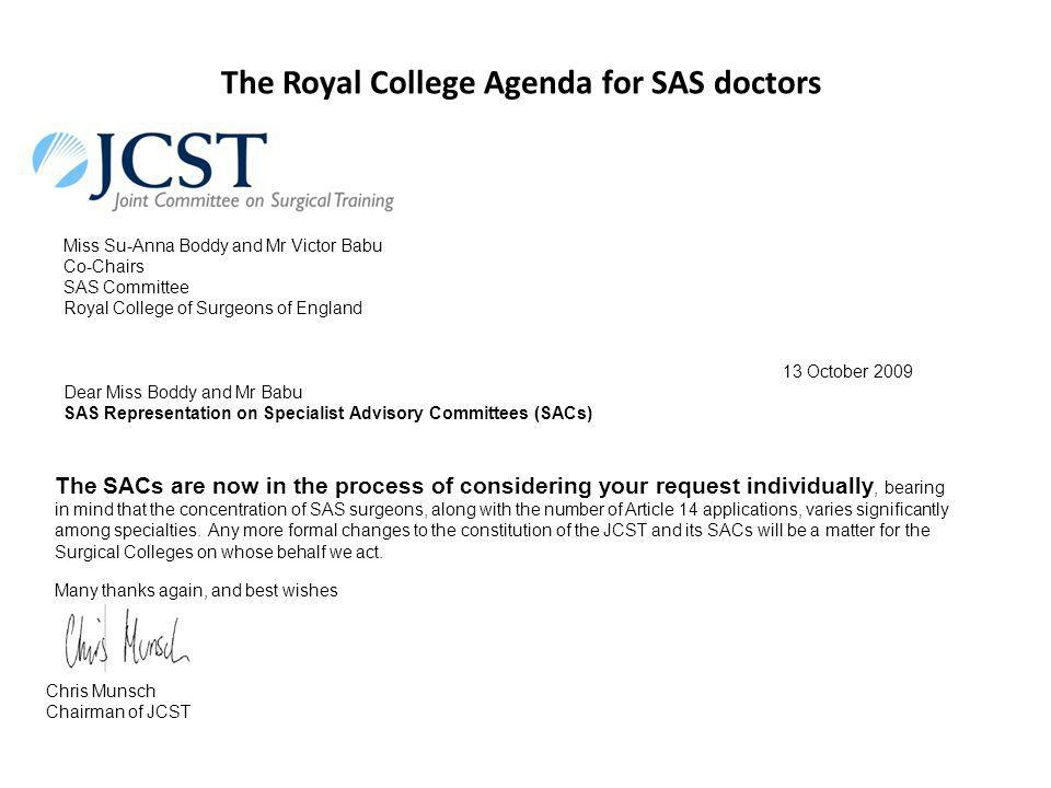 The role of the Royal Colleges in Training and Professional Development of SAS Doctors