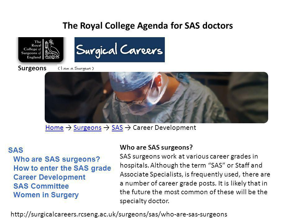 The Royal College Agenda for SAS doctors Joint College SAS Conference 29 th January 2009 Venue: The Royal College of Surgeons England London All are invited