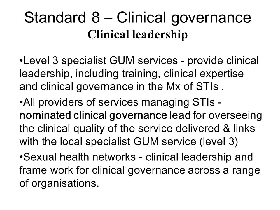 Information technology Information technology (IT) should be used to support clinical governance within and across organisations.