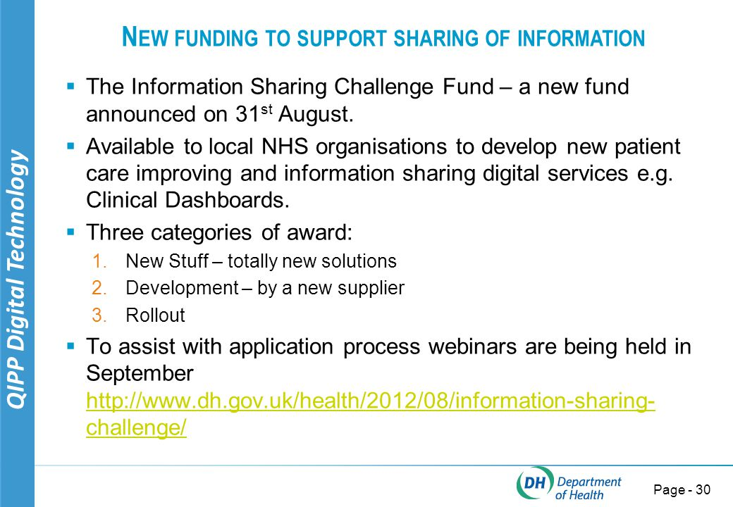 QIPP Digital Technology Page - 31 NHS TREASURE MAP Innovations – Promote, Share & Spread your GEMS