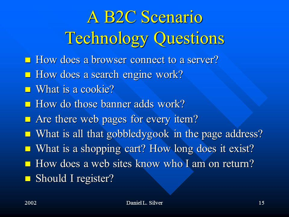 2002Daniel L.Silver16 A B2C Scenario Technology Questions How does it find my password.