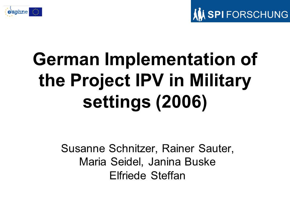 Background: No permission for implementation in German Military settings Implementation in two vocational schools (print media and construction: –BQL (Profession qualification course): One year long, it serves the gaining of the CSE –OBF (one year vocational school): One year long, it serves the gaining of the secondary school certificate (MSA- middle school certificate –BS (Vocational school): The regular three-year long vocational training is supported educationally by the OSZ