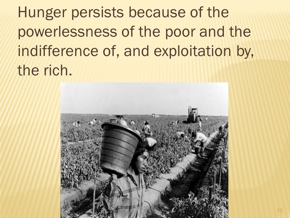 14 WHY HUNGER PERSISTS The powerful have the capacity but not the will to address the problem.