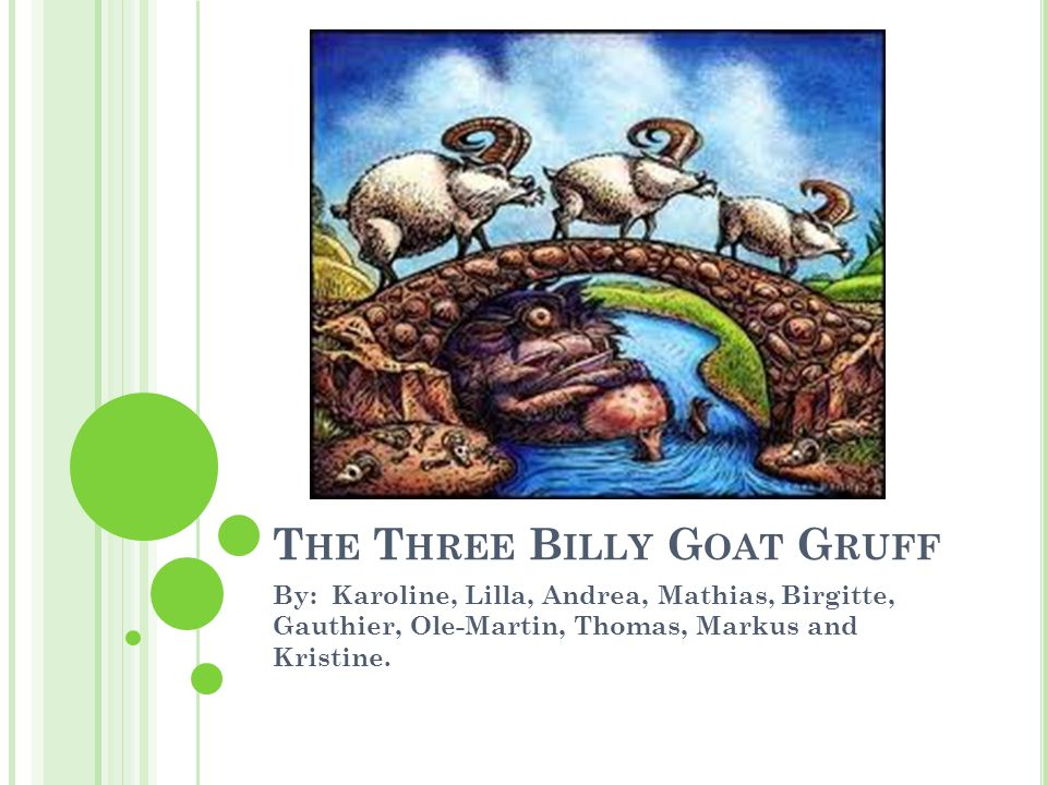 T HE P LOT Three Billy Goats Gruff Going to the meadow Walk over a bridge Troll lives under the bridge The goats barely get over The last goat kills the troll