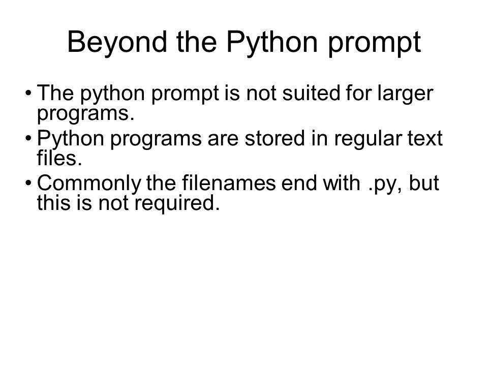 Executing Python programs Python files are executed using the python command.