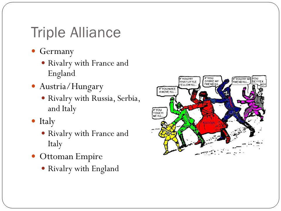 Triple Entente Russia Had lost face by losing the war to Japan France Lost territory to Germany Britain Looking to protect its trade empire