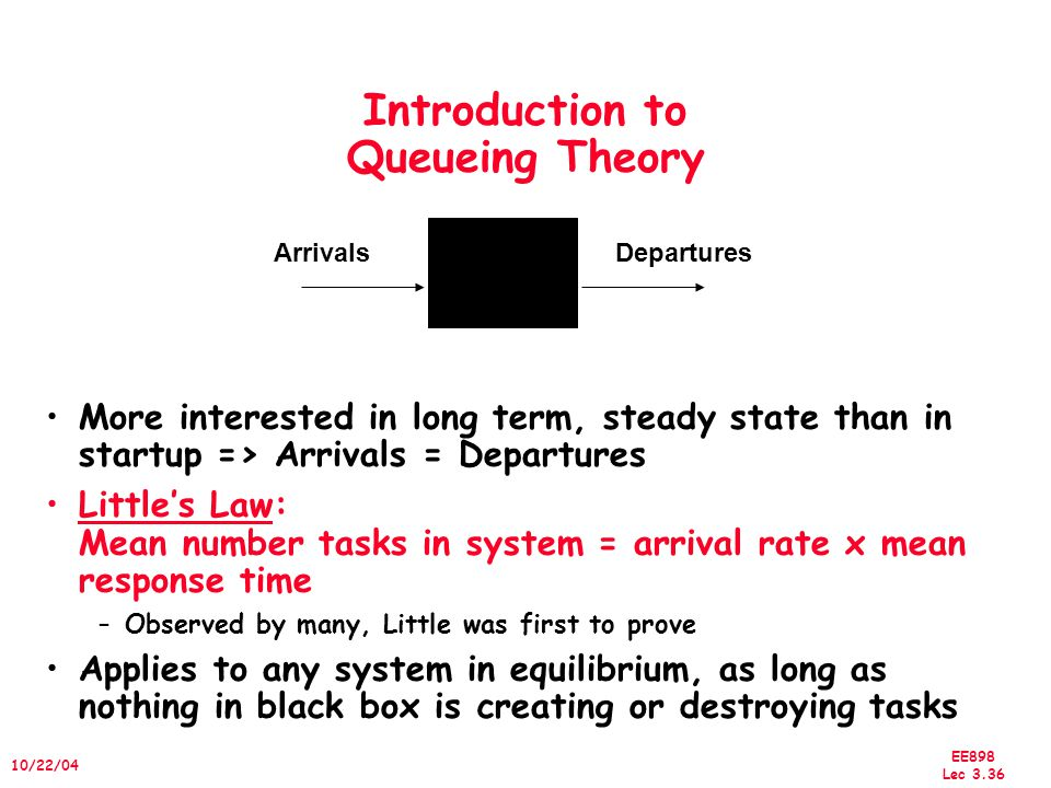 EE898 Lec 3.37 10/22/04 A Little Queuing Theory: Notation Queuing models assume state of equilibrium: input rate = output rate Notation: r average number of arriving customers/second T ser average time to service a customer (traditionally µ(avg.