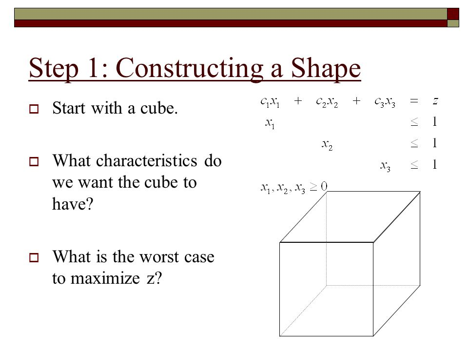 Step 1: Constructing a Shape  Goal 1: Create a shape with a long series of increasing facets  Goal 2: Create an LP problem that forces this route to be taken
