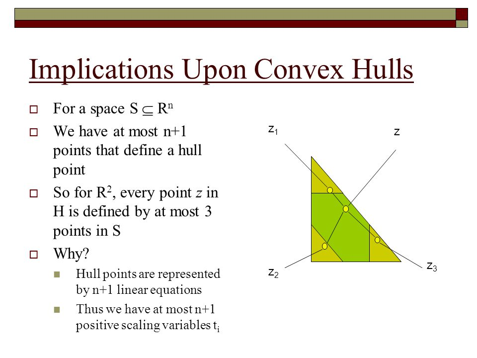 Convex Hulls as Linear Equations  For a set S  R 2  Point z is in a hull of S iff There are three points in S The weighted sum of these three points equal S z z3z3 z1z1 z2z2