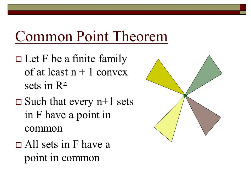 Common Point Theorem (continued)  Note that we can't make guarantees without every n+1 sets in F having a point in common
