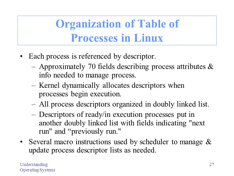 Understanding Operating Systems 28 Process Synchronization in Linux Provides wait queues & semaphores to allow 2 processes to synchronize with each other.