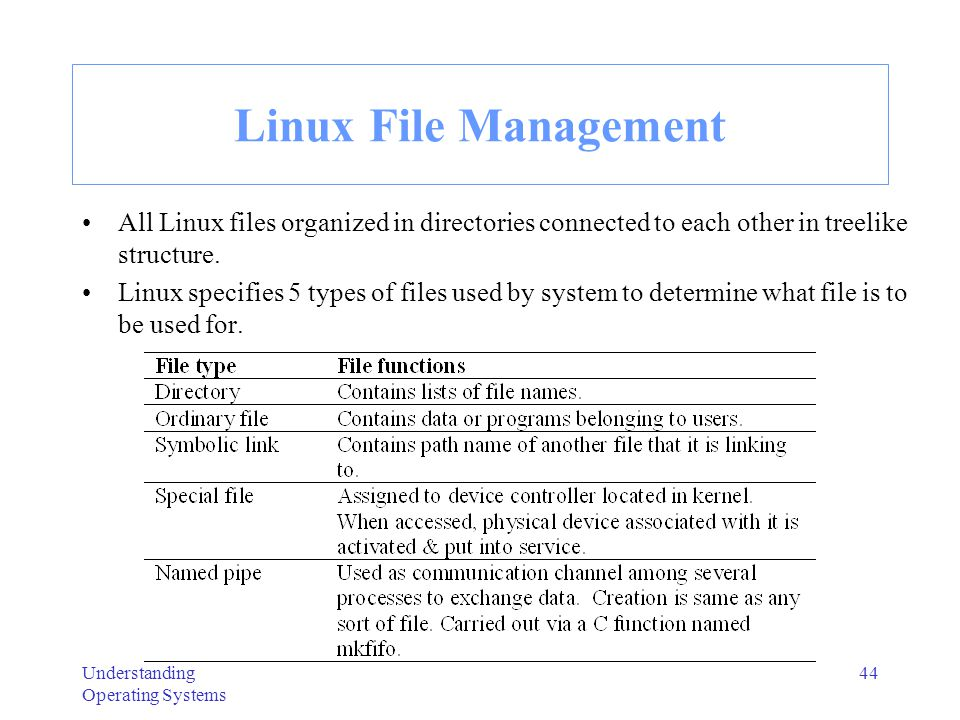 Understanding Operating Systems 45 Linux File Names & File Directories File names can be up to 256 characters long and contain alphabetic character, underscores, & numbers.