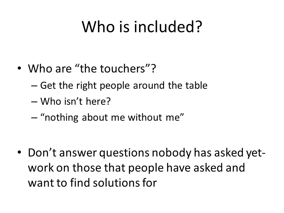Who is Included.