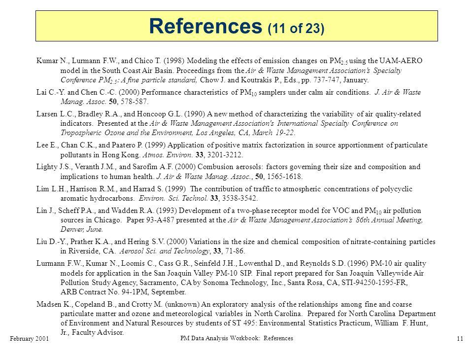 February 2001 PM Data Analysis Workbook: References 12 Main H.H., Roberts P.T., and Ligocki M.P.