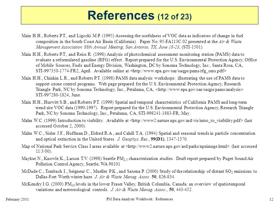 February 2001 PM Data Analysis Workbook: References 13 Meyer N.
