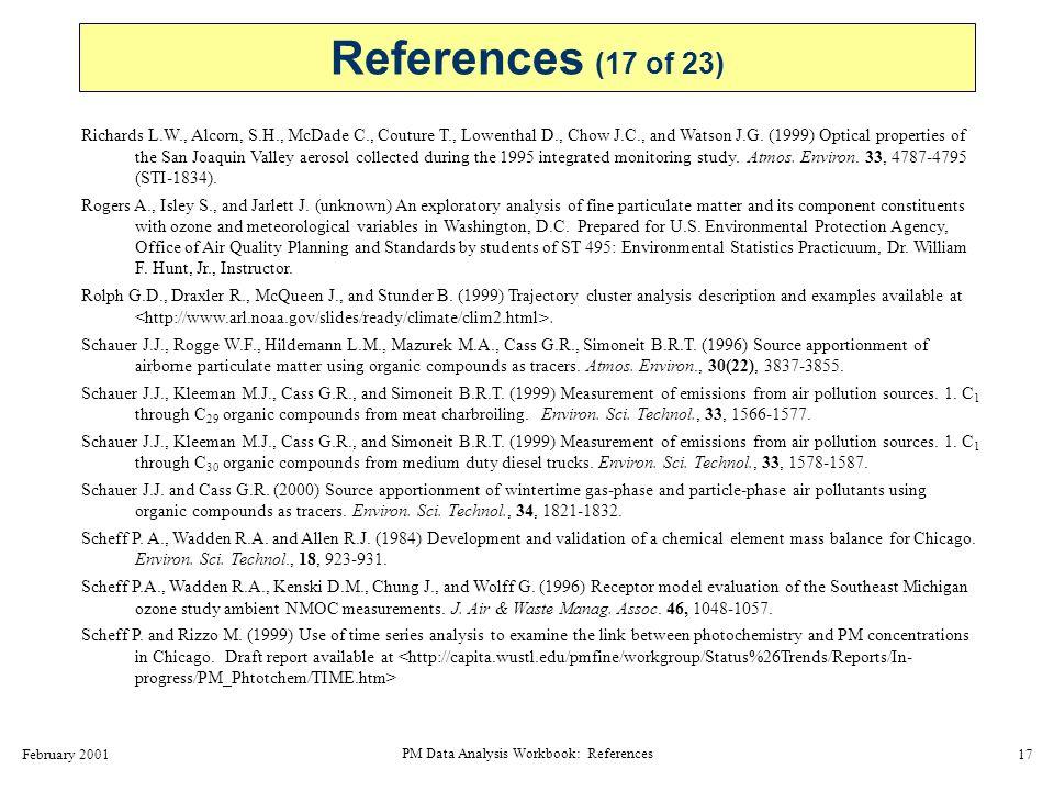 February 2001 PM Data Analysis Workbook: References 18 Schichtel B.A.