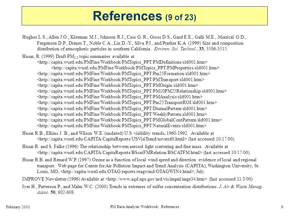 February 2001 PM Data Analysis Workbook: References 10 Johnson N.L.