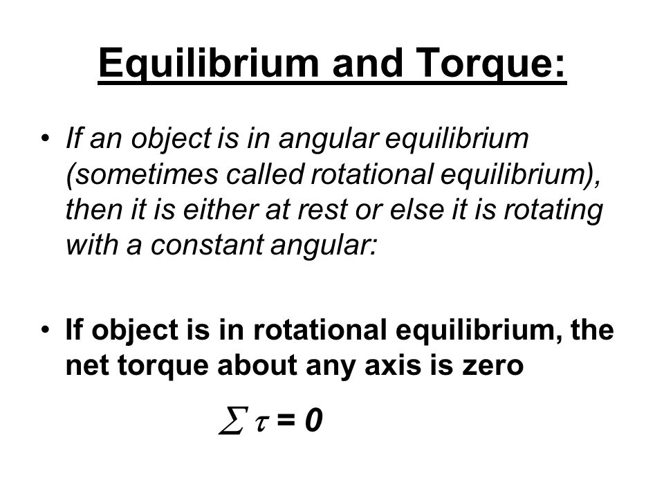 Static equilibrium exists when an object has no motion, either linear or angular.
