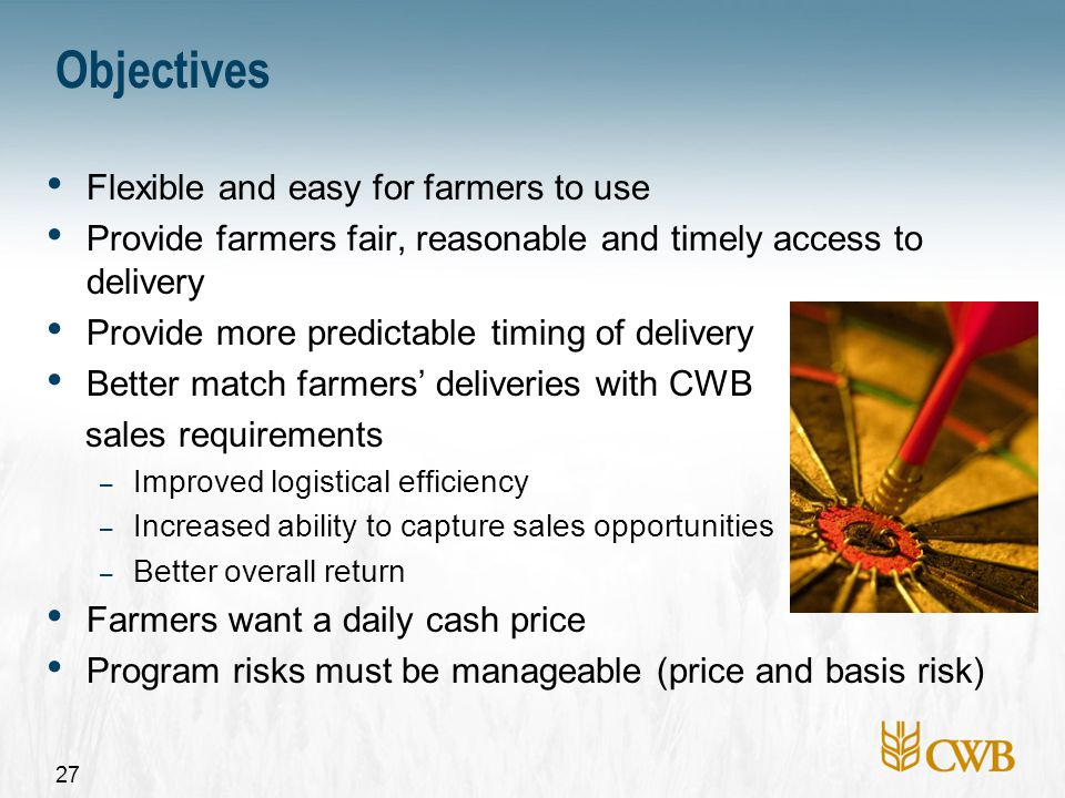 28 Improvements to existing programs for 2007-08 Changes approved by board of directors in October Enhanced guaranteed delivery contracts Delivery exchange contract (DEC) expansion Early payment option improvements Expanded direct selection (malt barley) Cash buying (feed barley)